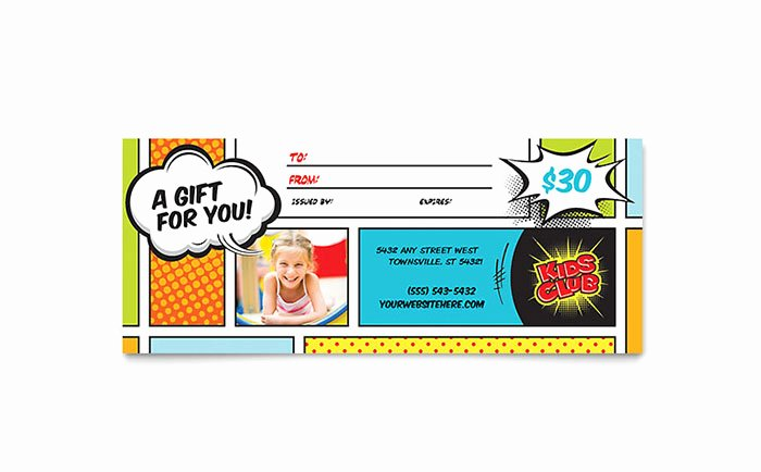 Powerpoint Gift Certificate Template Fresh Kids Club Gift Certificate Template Word & Publisher