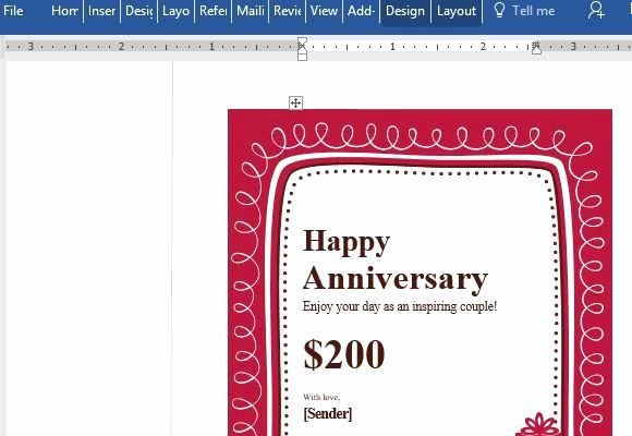 Powerpoint Gift Certificate Template Lovely Birthday Gift Certificate Card Template for Word