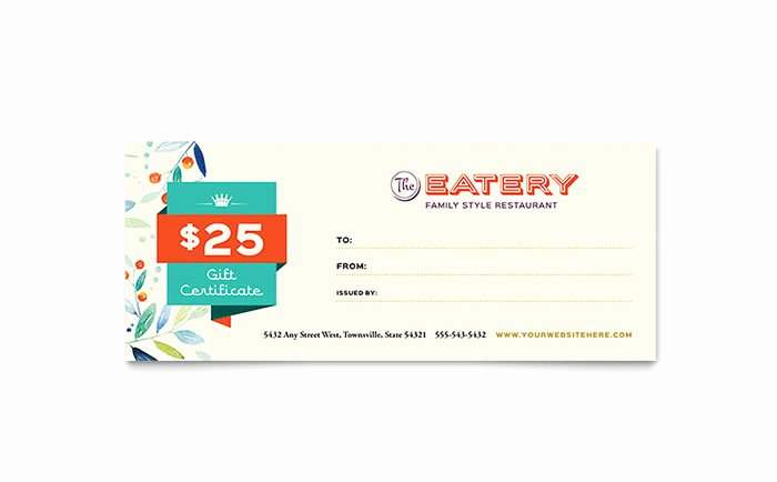 Powerpoint Gift Certificate Template Unique Family Restaurant Gift Certificate Template Design