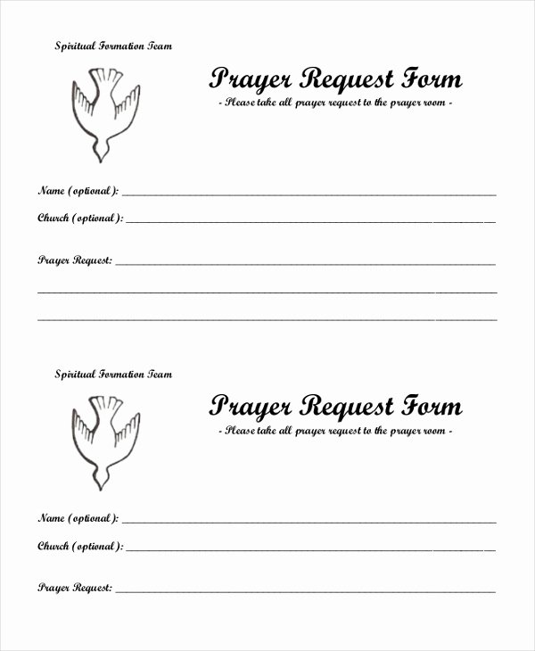 Prayer Request form Template Fresh Free 10 Sample Prayer Request forms