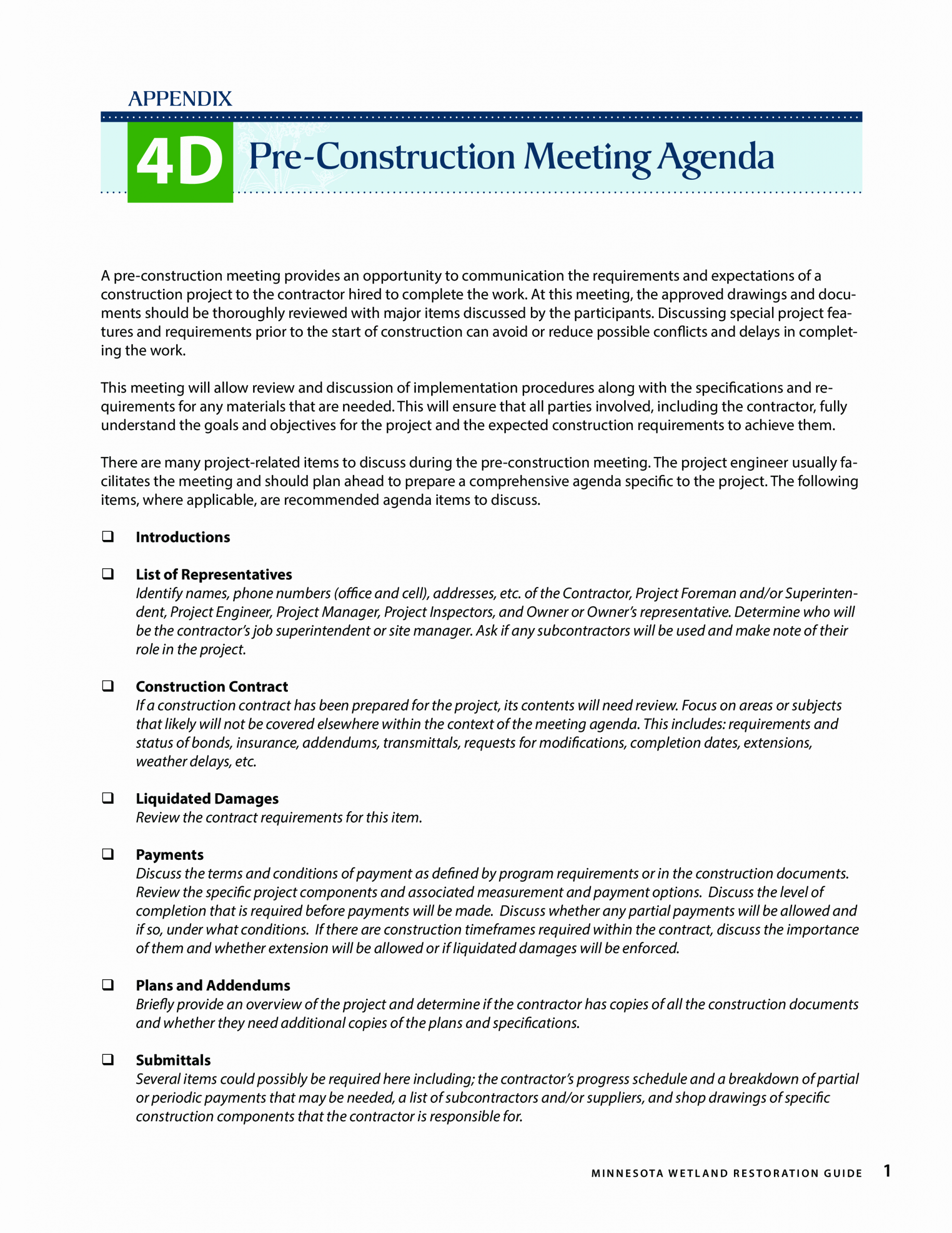 Pre Construction Meeting Agenda Template Awesome Pre Construction Meeting Agenda
