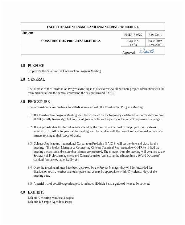 Pre Construction Meeting Agenda Template Beautiful 16 Construction Minutes Templates – Free Sample Example