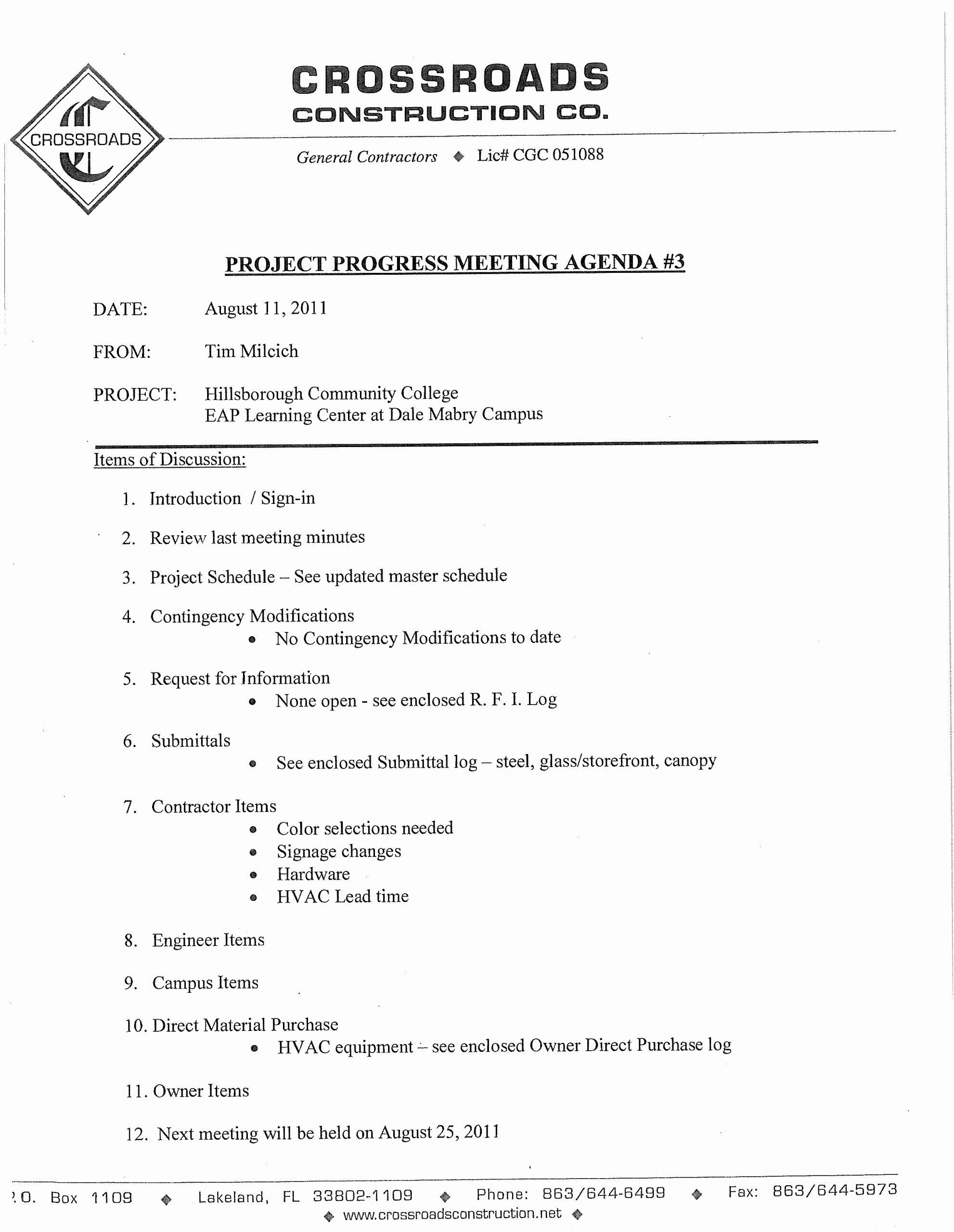 Pre Construction Meeting Agenda Template Luxury 免费 Construction Project Progress Meeting Agenda Template