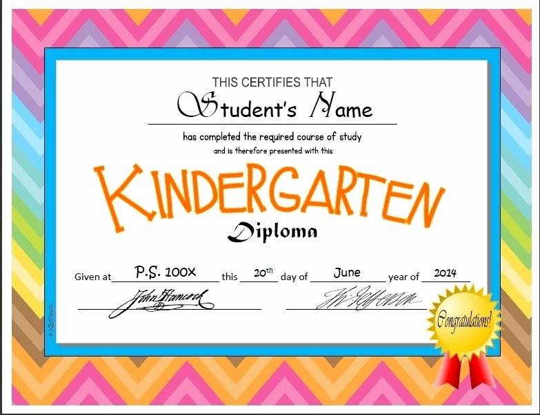 Pre K Certificate Templates Elegant Kindergarten & Pre K Diplomas Editable