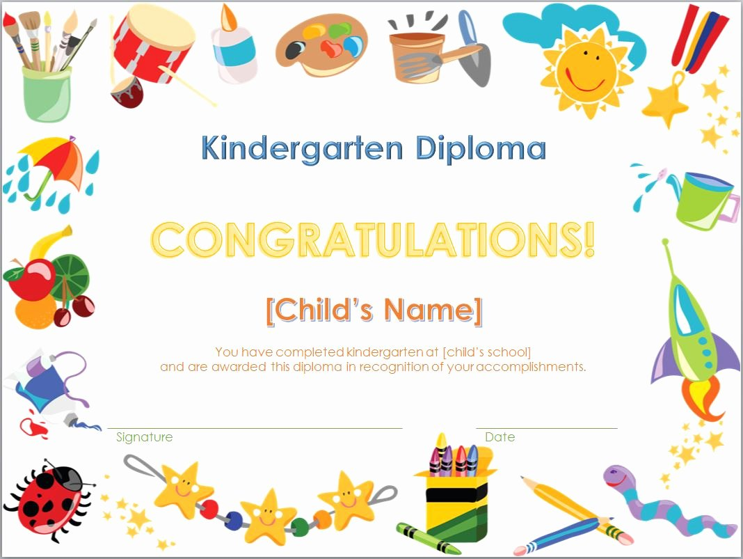 Pre K Certificate Templates Elegant Kindergarten Diploma Template