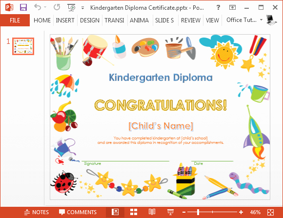 Pre K Certificate Templates Unique Printable Kindergarten Diploma Template for Powerpoint