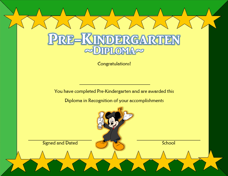 Pre Kindergarten Certificate Template Beautiful Pre K Diploma Certificate Editable 10 Great Templates