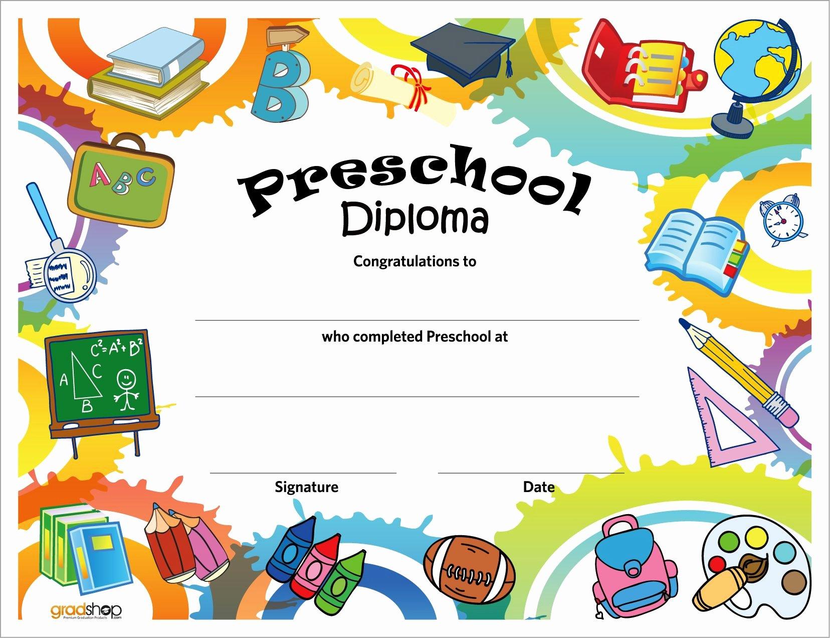 Pre Kindergarten Certificate Template Inspirational Free Printable Preschool Diplomas