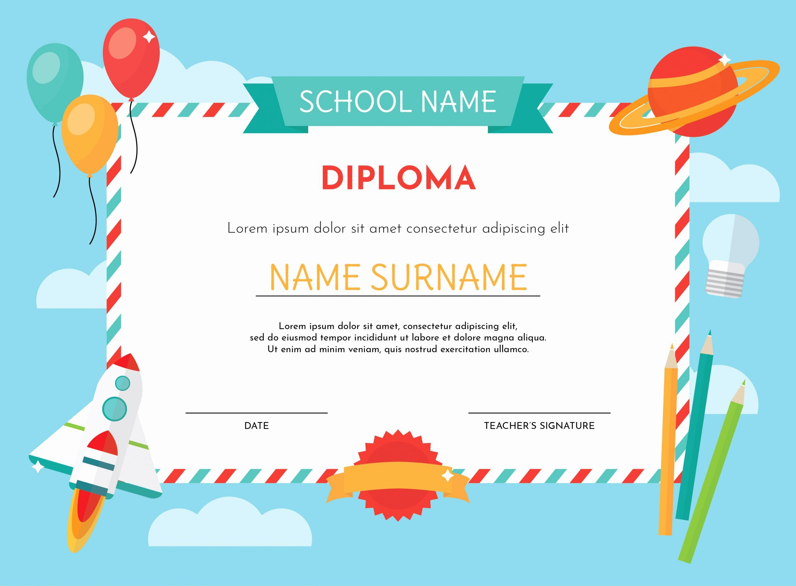 Pre Kindergarten Certificate Template Inspirational Kindergarten Diploma Template Download Free Vectors