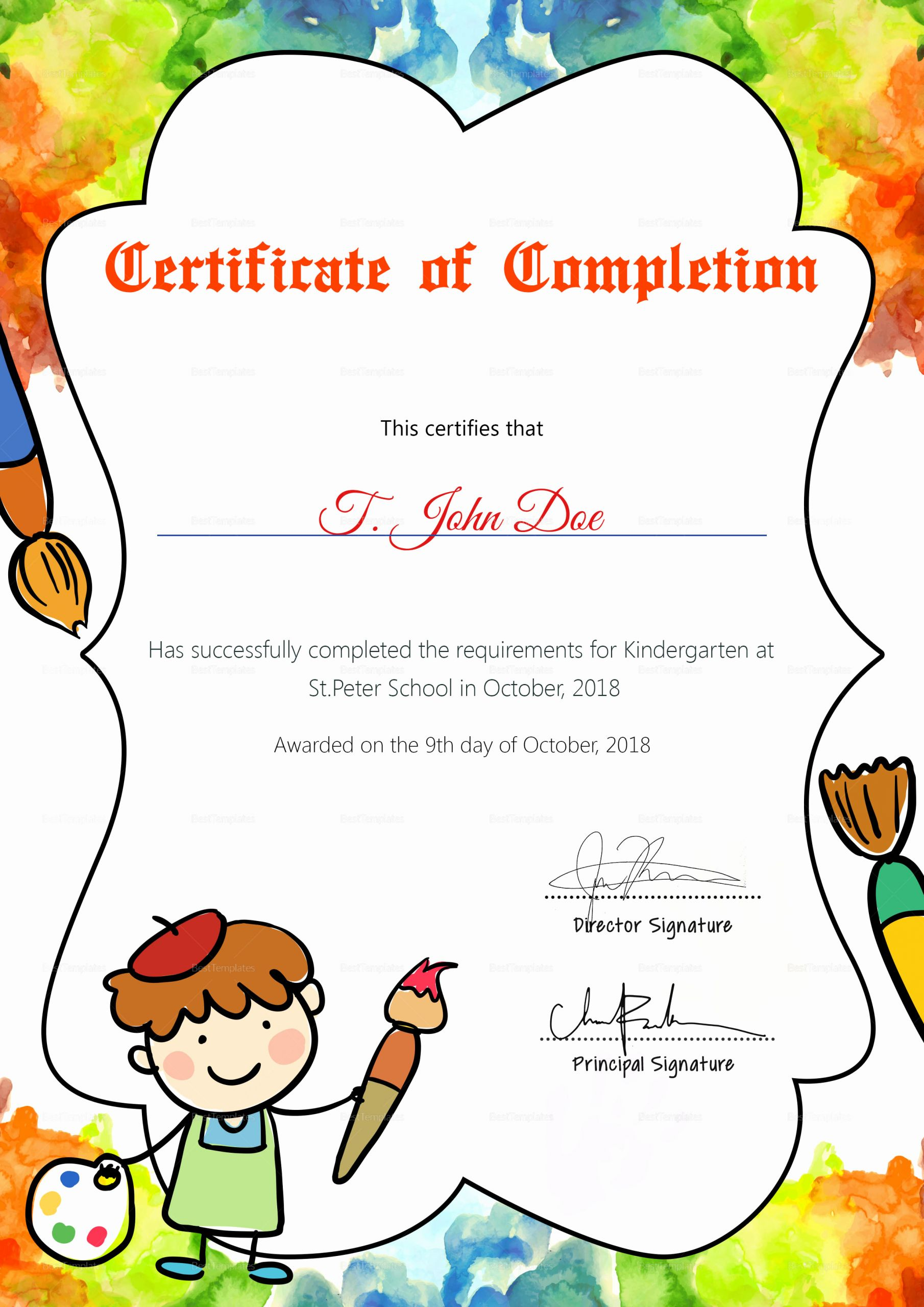 Pre Kindergarten Certificate Template Lovely Preschool Diploma Pletion Certificate Design Template