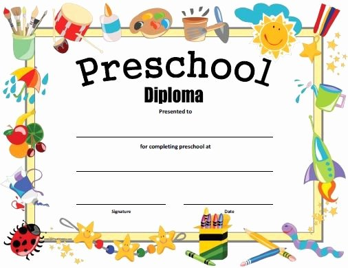 Pre Kindergarten Certificate Template New Free Printable Preschool Diploma Graduation