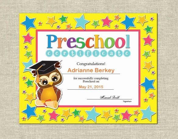 Pre Kindergarten Certificate Template Unique 10 Printable Preschool Certificate Templates – Free Word