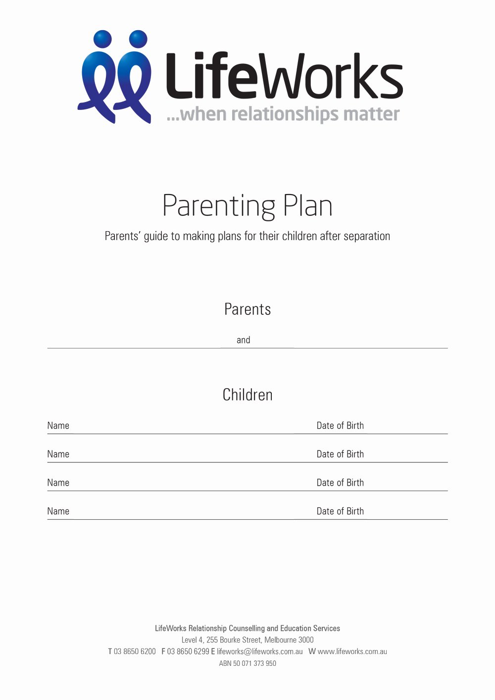 Pre Marriage Counseling Certificate Template Best Of Example Parenting Plan Lifeworks
