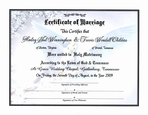 Pre Marriage Counseling Certificate Template Elegant Doves Of A Feather Certificate Of Marriage