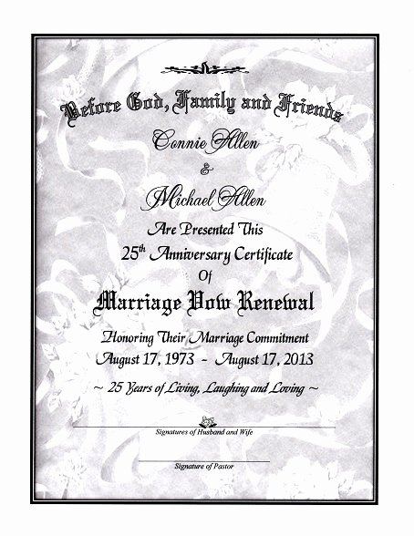 Pre Marriage Counseling Certificate Template Elegant Silver Bells Marriage Vow Renewal Certificate
