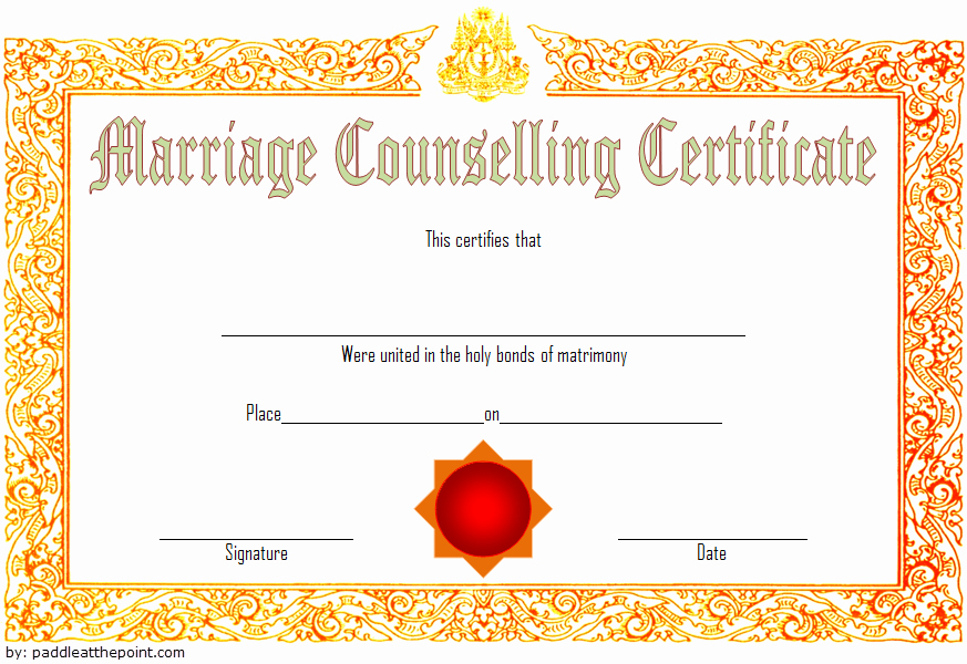 Pre Marriage Counseling Certificate Template New Marriage Counseling Certificate Template 7 Premium Designs