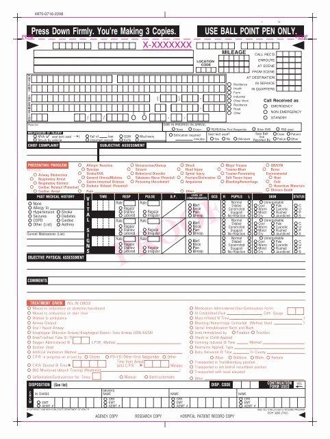Prehospital Care Report Template New Pcr form