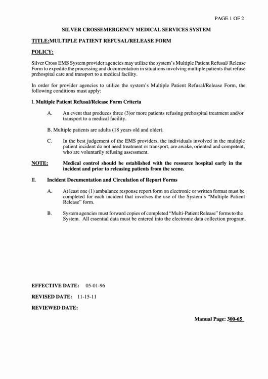 multiple patient refusal release form silver cross ems system