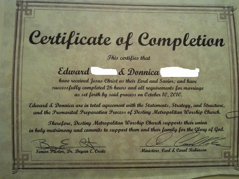 Premarital Counseling Certificate Of Completion Template Elegant Pre Marital Counseling