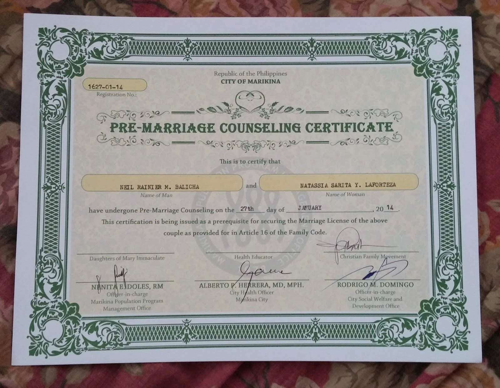 Premarital Counseling Certificate Of Completion Template New Miss Adventures Of the Missus January 2014
