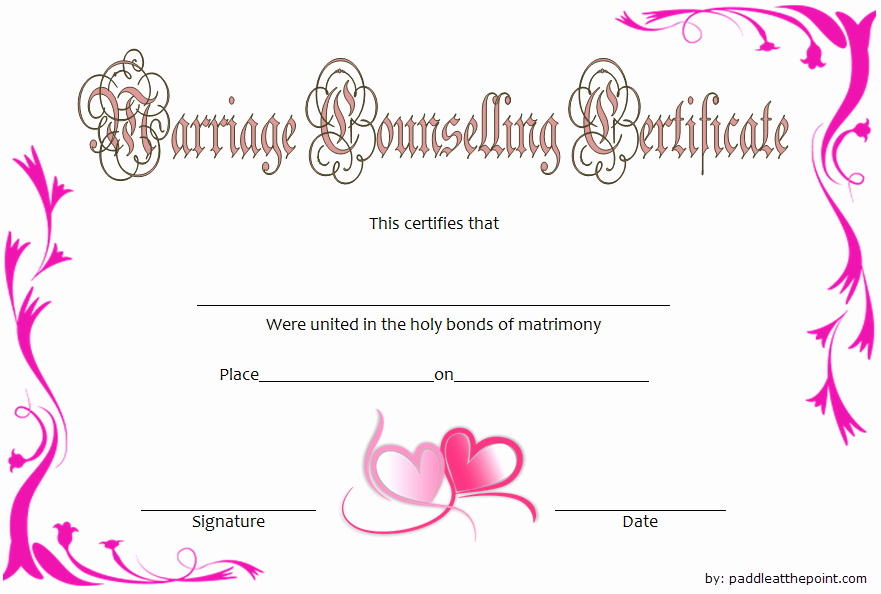 Premarital Counseling Certificate Template Best Of Marriage Counseling Certificate Template 7 Premium Designs