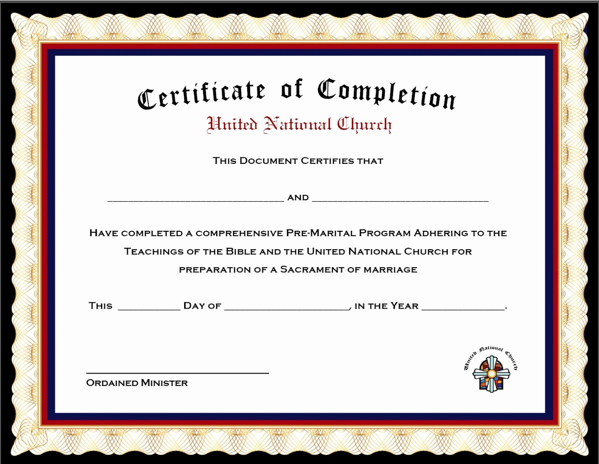 Premarital Counseling Certificate Template Elegant Pack Of 4 Marriage Counseling Pletion Certificates