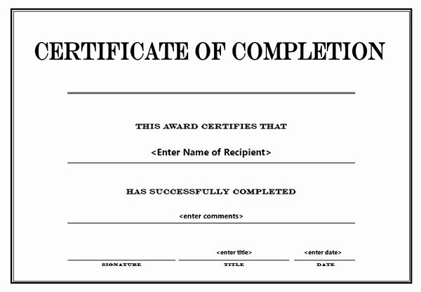 free editable certificate of pletion templates