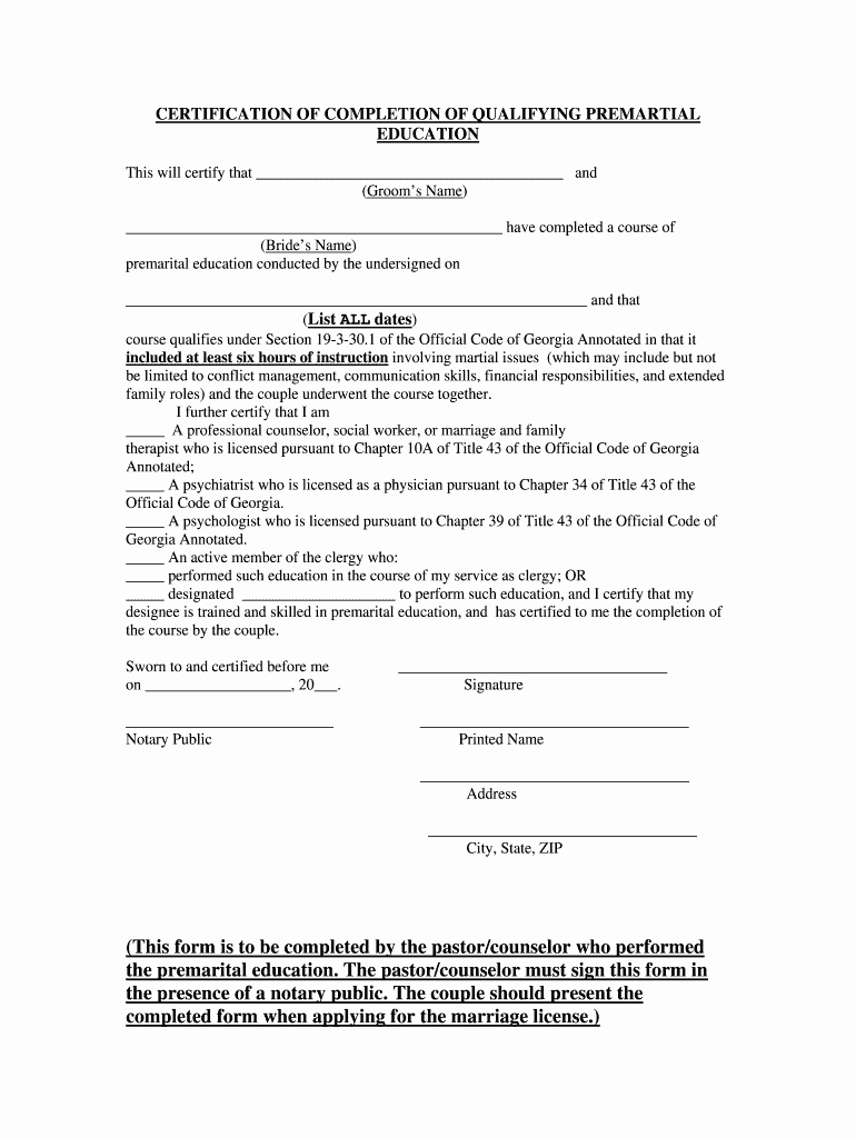 Premarital Counseling Certificate Template Unique Marriage Counselling Certificate Sample Fill Line