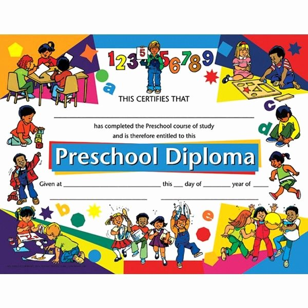 Preschool Awards for Graduation Elegant Preschool Diploma Child Activity Border Va925 Pack Of
