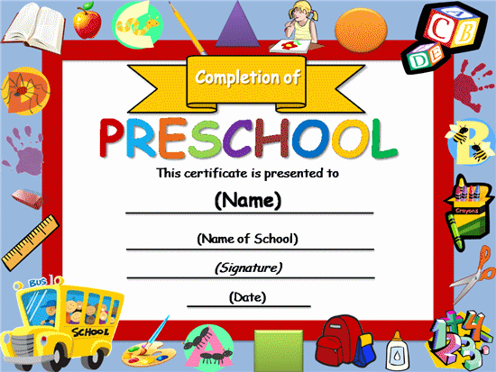 Preschool Awards for Graduation Unique Free Certificate Templates