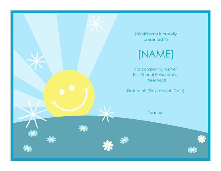 Preschool Certificate Of Completion Beautiful Preschool Certificate Pletion Template Free