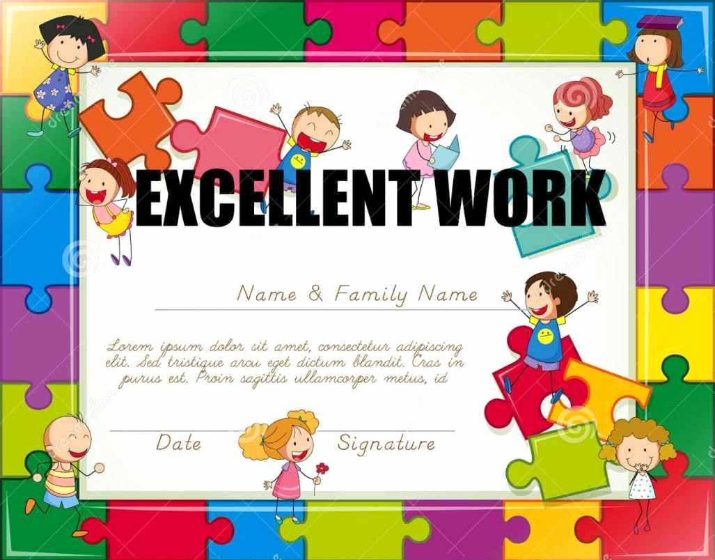 Preschool Certificate Of Completion Elegant Certificate Pletion for Kids Template Update234