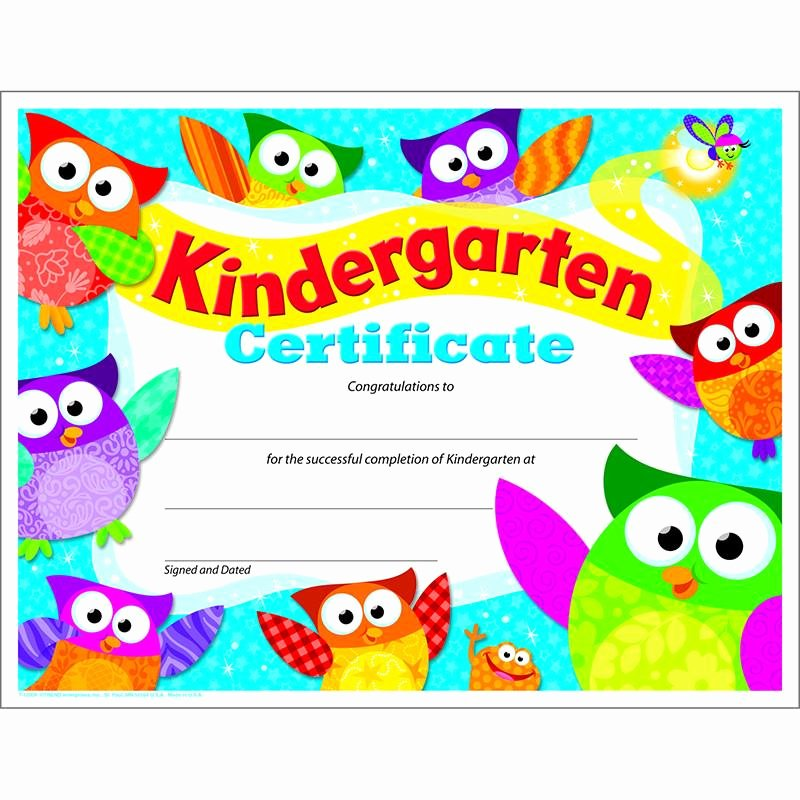 Preschool Certificate Of Completion Inspirational Kindergarten Certificate Owl Stars Factory Select