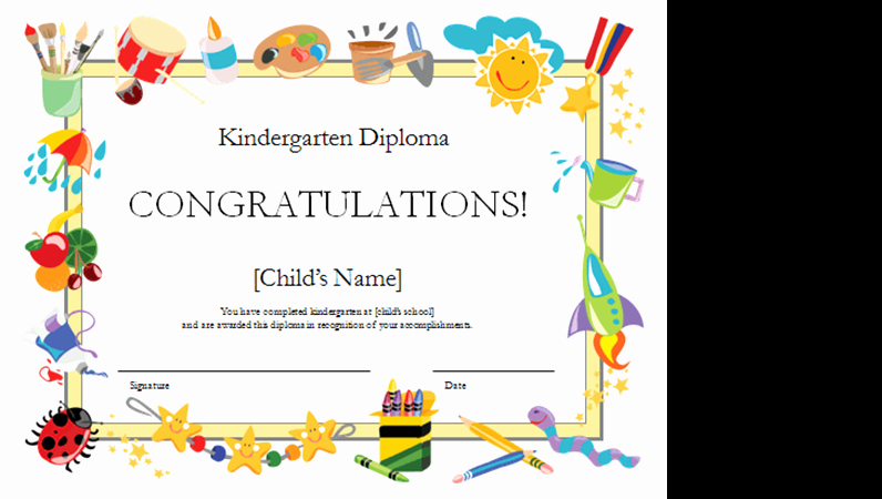 Preschool Certificate Of Completion Lovely Kindergarten Diploma Certificate