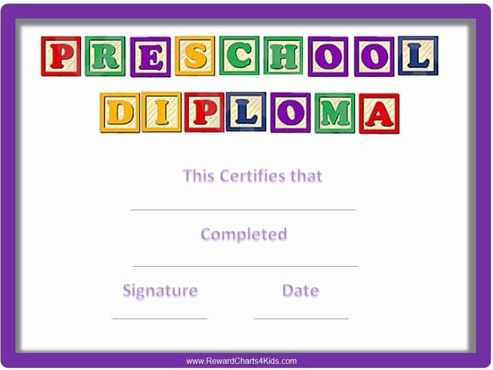 Preschool Certificate Template Free Lovely Preschool Certificates