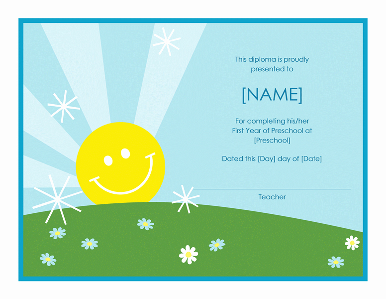 Preschool Certificate Templates Free Awesome Preschool Certificate Pletion Template Free