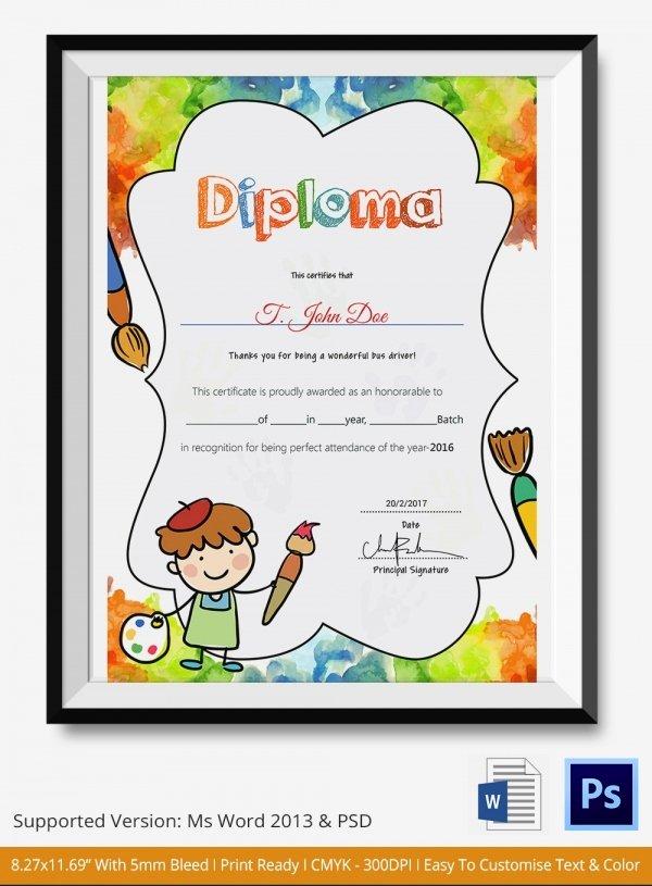 Preschool Certificate Templates Free Beautiful Preschool Certificate Template 18 Free Word Pdf Psd