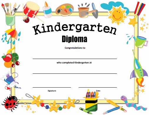 Preschool Certificate Templates Free Elegant Kindergarten Diploma Free Printable Allfreeprintable