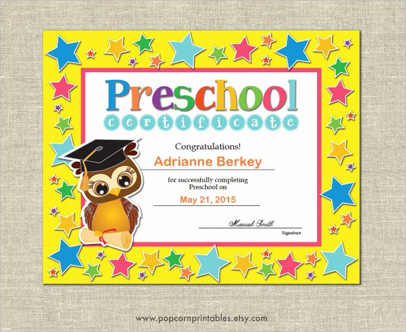 Preschool Certificate Templates Free Fresh Free 19 Graduation Certificates In Illustrator