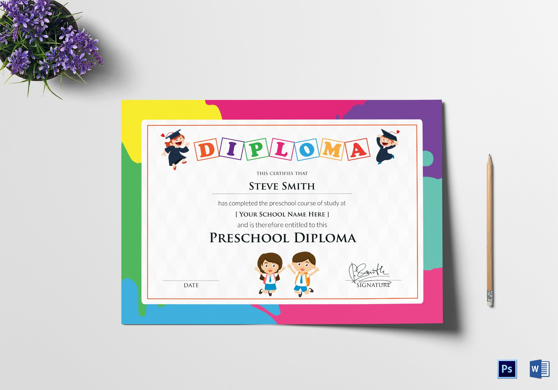 Preschool Certificate Templates Free Lovely Preschool Diploma Certificate Design Template In Psd Word