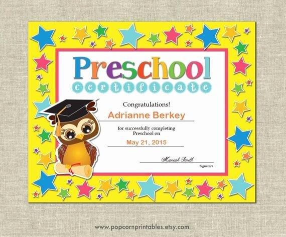 Preschool Certificate Templates Free Lovely Preschool Graduation Diploma Certificate Instant Download