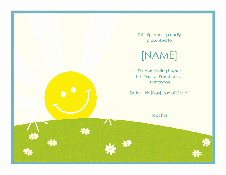 Preschool Certificates Of Completion Best Of Preschool Certificate Pletion Template Free