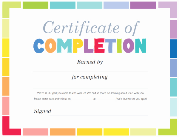 free vbs certificate of pletion