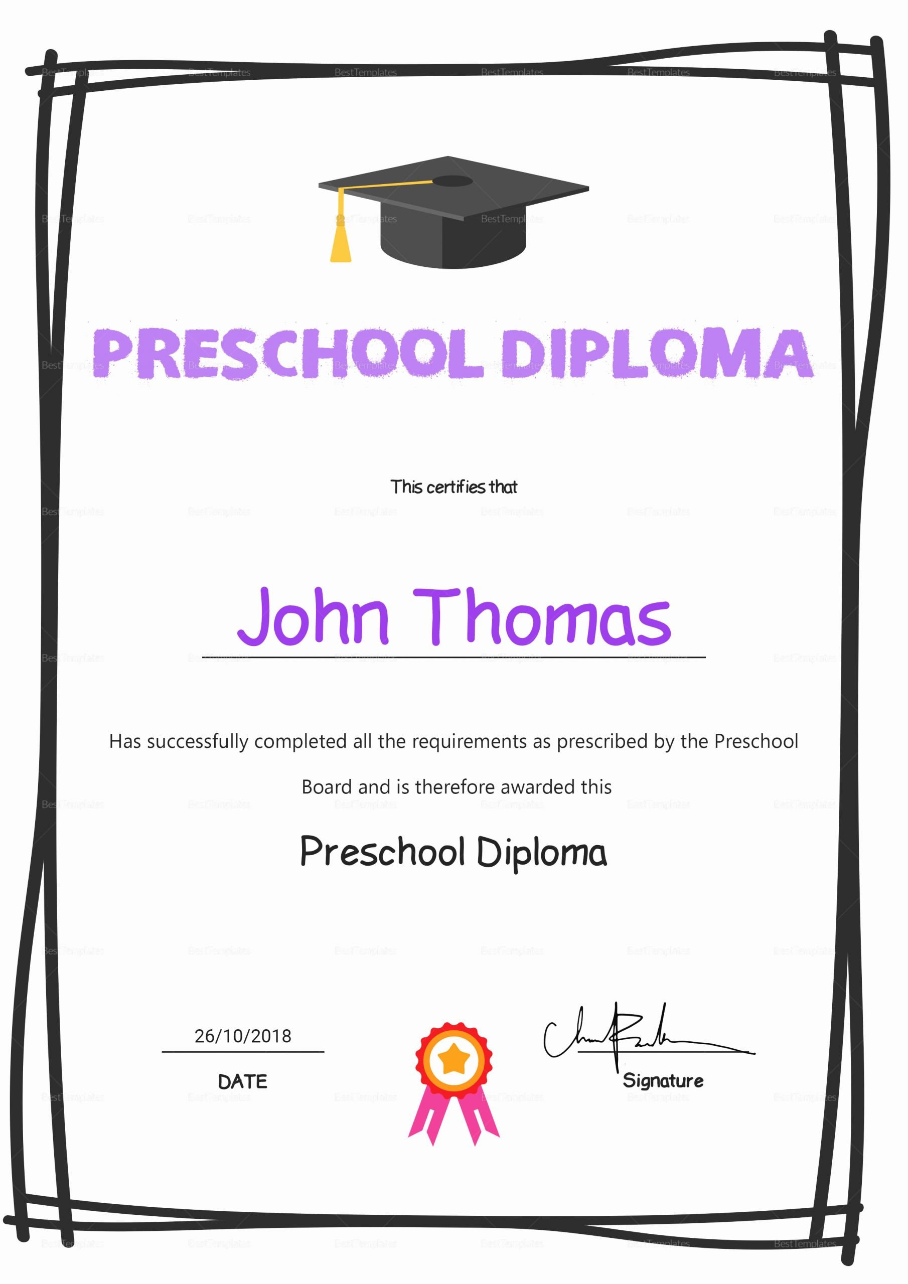 Preschool Completion Certificate Templates Beautiful Elegant Preschool Diploma Certificate Design Template In