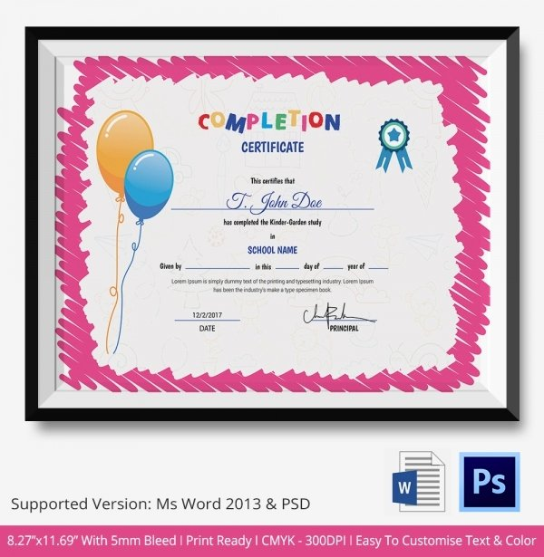 Preschool Completion Certificate Templates Inspirational Preschool Certificate Template 18 Free Word Pdf Psd