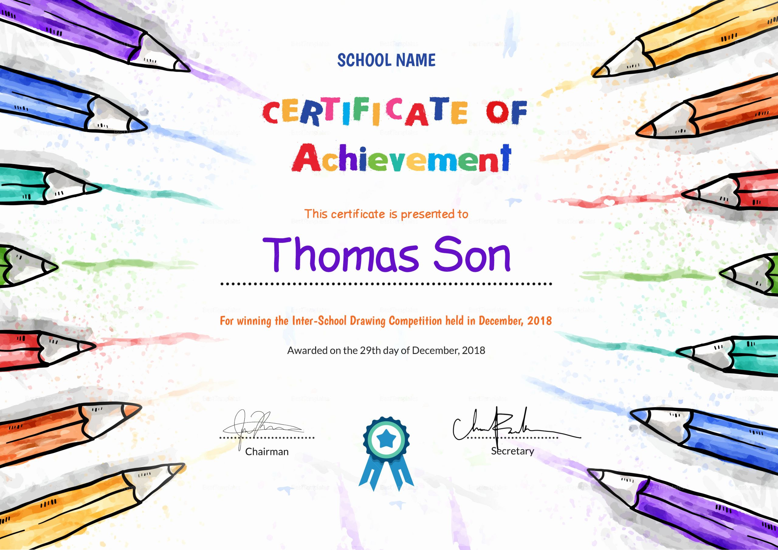 Preschool Completion Certificate Templates Lovely Preschool Achievement Certificate Design Template In Psd Word