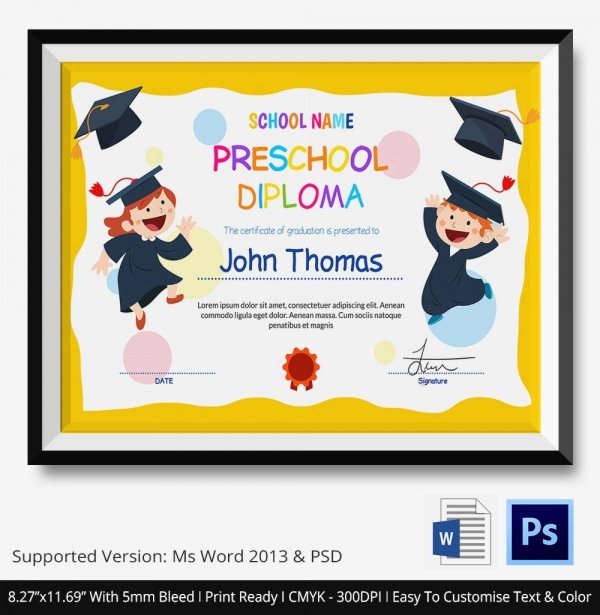 Preschool Diploma Template Free Awesome 11 Graduation Certificate Templates Word Pdf Documents
