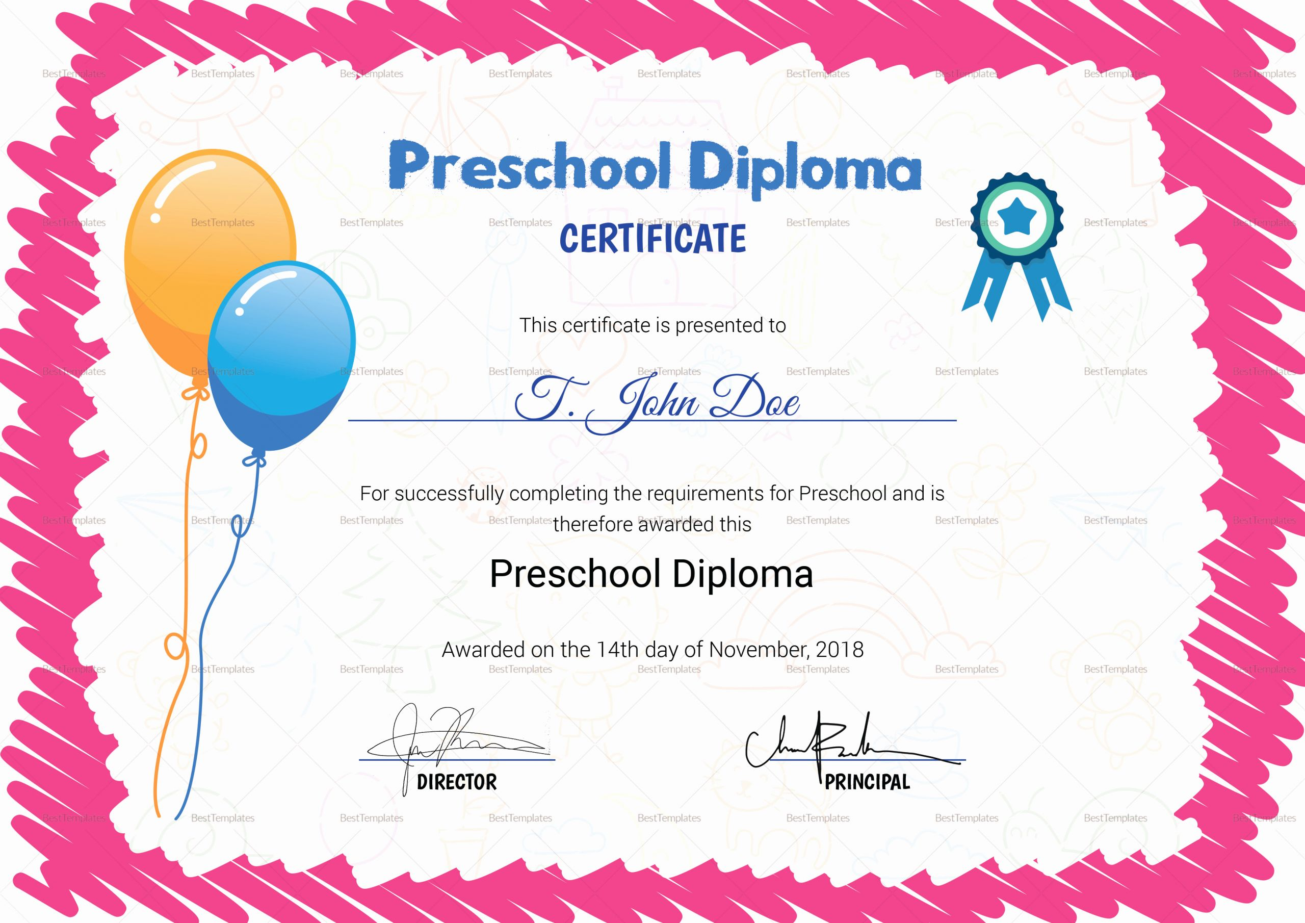 Preschool Diploma Template Free Best Of Pink Preschool Pletion Certificate Design Template In