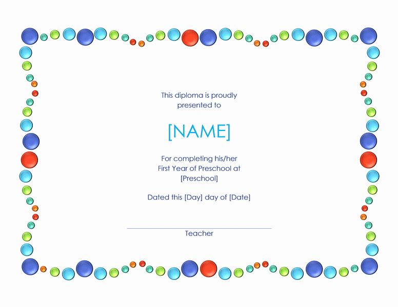 Preschool Diploma Template Free Elegant Preschool Certificate Template Word Templates