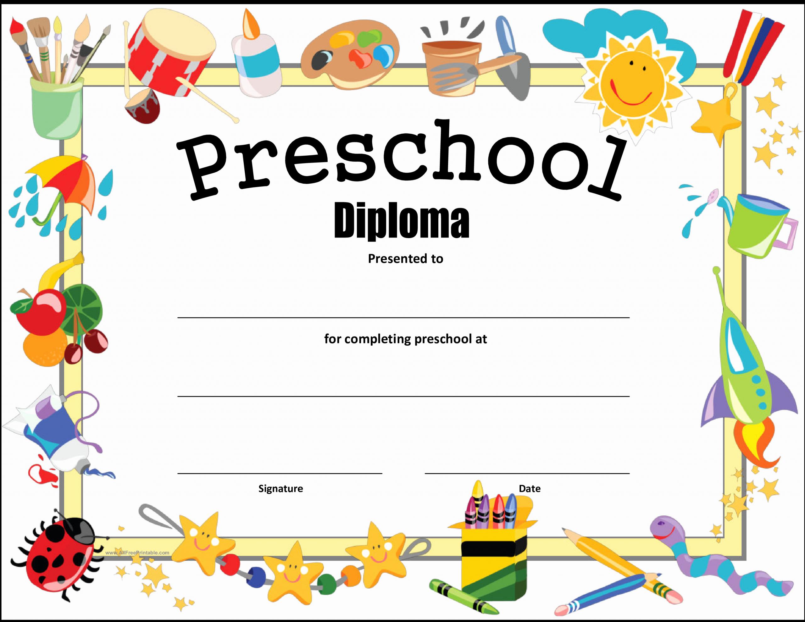 Preschool Diploma Template Free Fresh Free Preschool Diploma Certificate